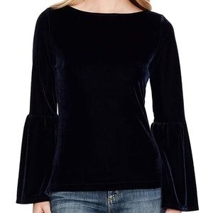 Jessica Simpson Black Velvet Bell Sleeve Top 2X
